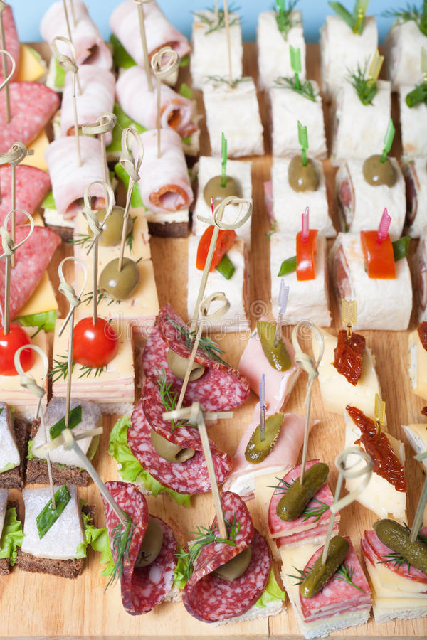 Different kinds of snacks canape on skewers selective for Canape 4 kinds