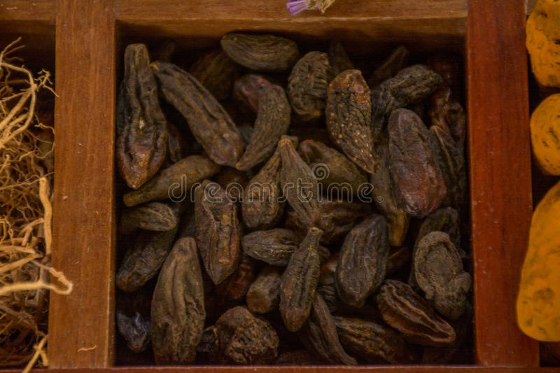 Variety of spices and seasonings in the wooden box stock images