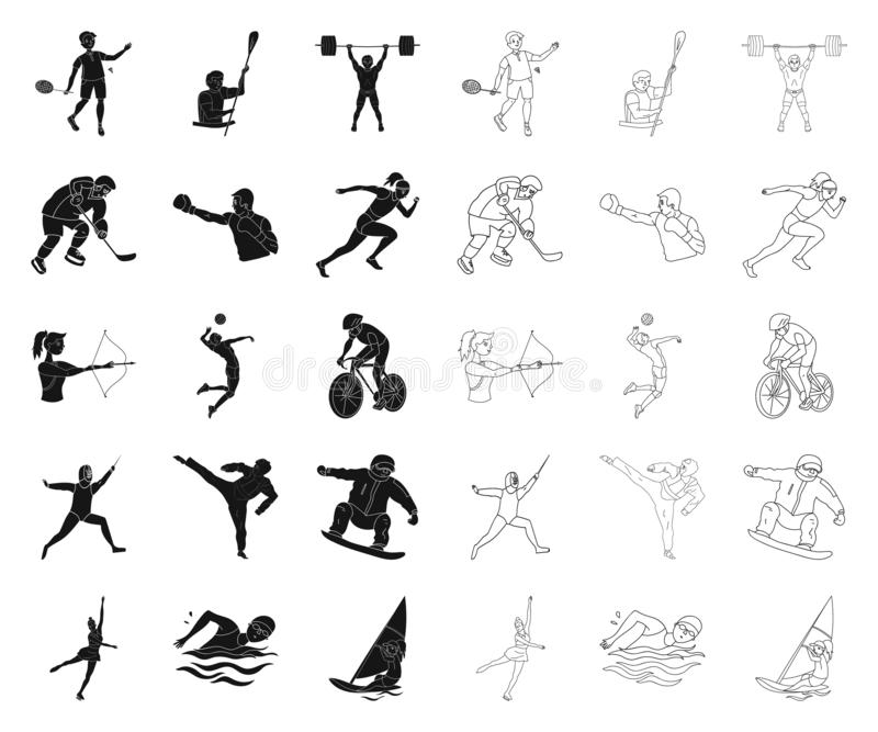 Different kinds of sports black,outline icons in set collection for design. Athlete, competitions vector symbol stock. Illustration royalty free illustration