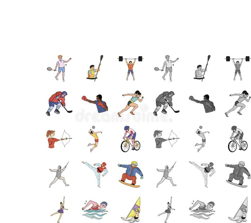 Different kinds of sports cartoon,mono icons in set collection for design. Athlete, competitions vector symbol stock web. Different kinds of sports cartoon,mono vector illustration