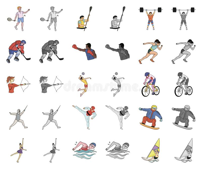 Different kinds of sports cartoon,monochrom icons in set collection for design. Athlete, competitions vector symbol. Stock illustration royalty free illustration