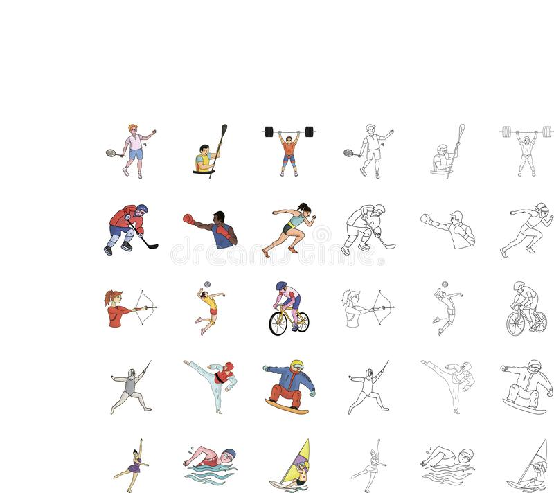 Different kinds of sports cartoon,outline icons in set collection for design. Athlete, competitions vector symbol stock. Illustration stock illustration