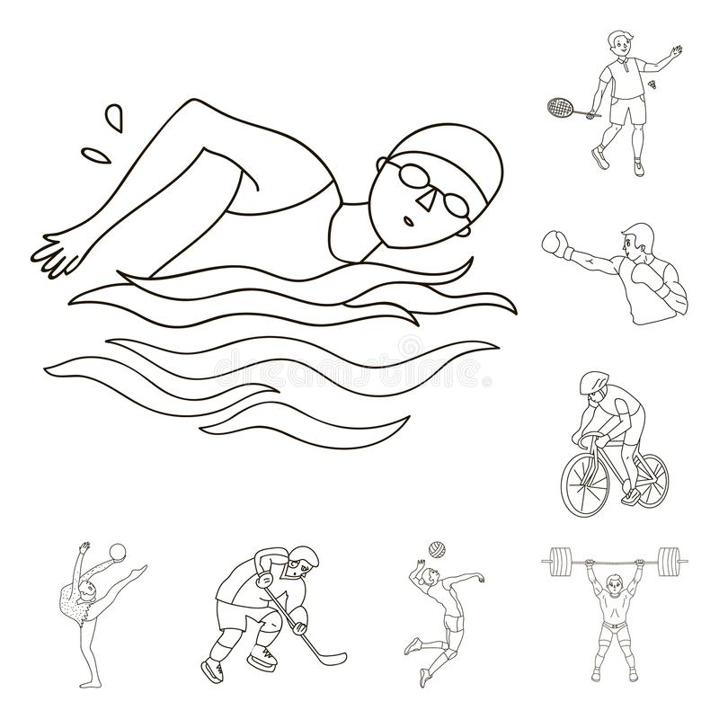 Different kinds of sports outline icons in set collection for design. Athlete, competitions vector symbol stock web. Different kinds of sports outline icons in stock illustration
