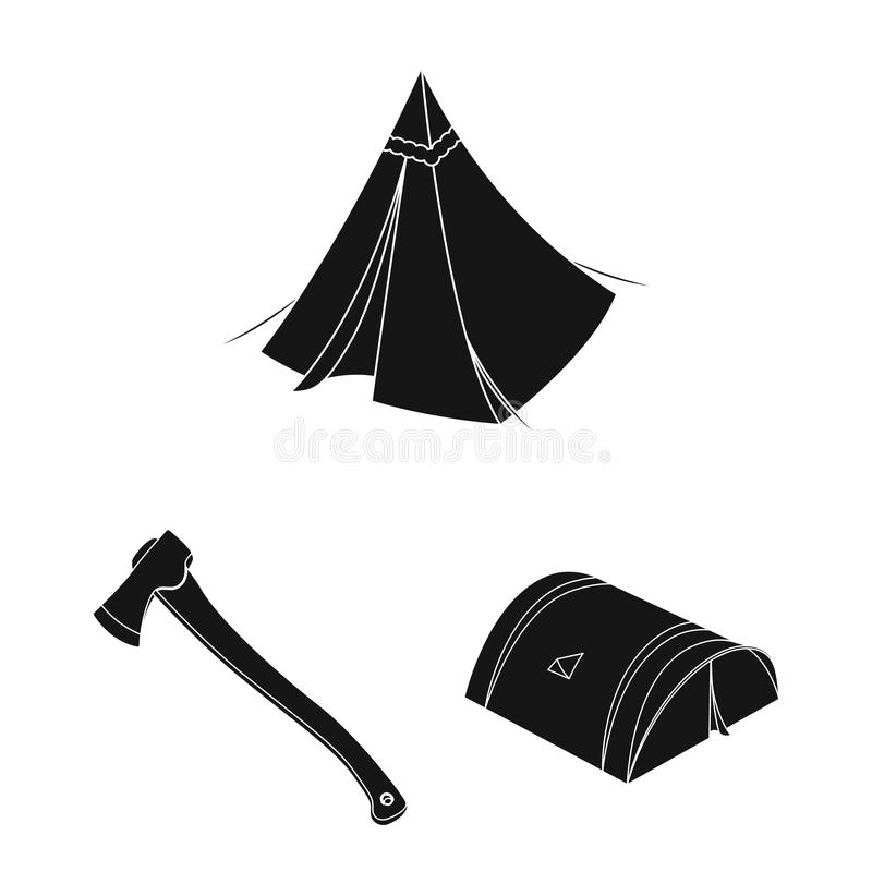 Different kinds of tents black icons in set collection for design. Temporary shelter and housing vector symbol stock web. Different kinds of tents black icons in royalty free illustration