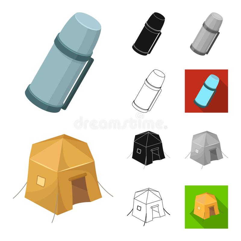 Different kinds of tents cartoon,black,flat,monochrome,outline icons in set collection for design. Temporary shelter and. Housing vector symbol stock vector illustration