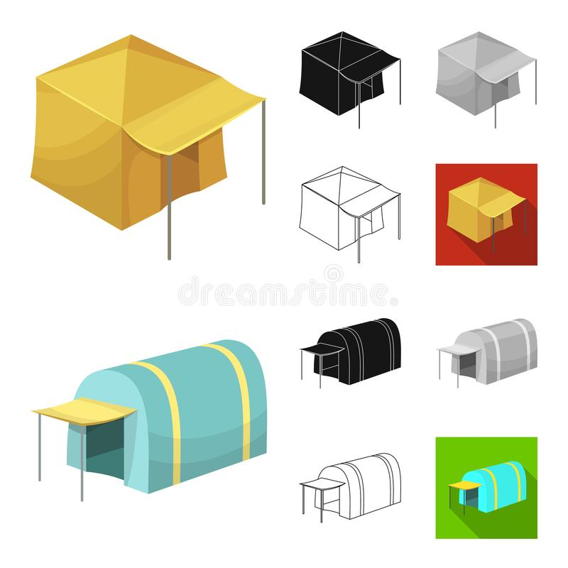 Different kinds of tents cartoon,black,flat,monochrome,outline icons in set collection for design. Temporary shelter and. Housing vector symbol stock royalty free illustration