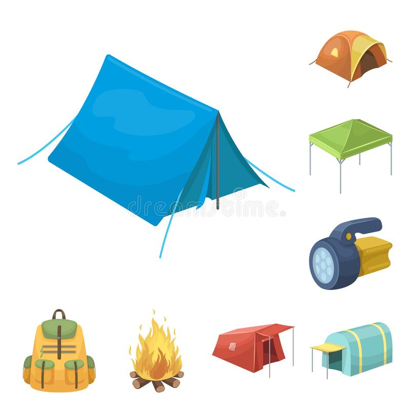 Different kinds of tents cartoon icons in set collection for design. Temporary shelter and housing vector symbol stock. Illustration vector illustration