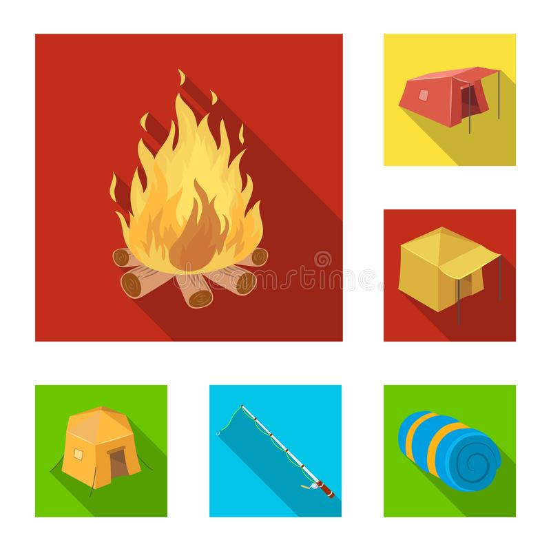 Different kinds of tents flat icons in set collection for design. Temporary shelter and housing vector symbol stock web. Different kinds of tents flat icons in vector illustration