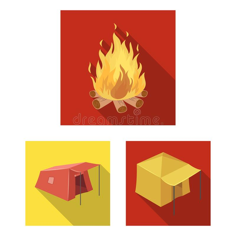 Different kinds of tents flat icons in set collection for design. Temporary shelter and housing vector symbol stock web. Different kinds of tents flat icons in royalty free illustration