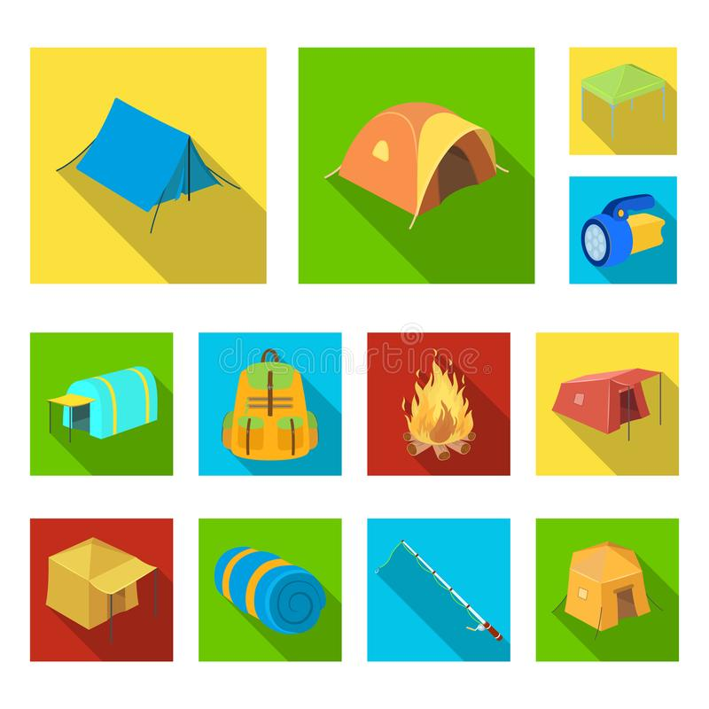 Different kinds of tents flat icons in set collection for design. Temporary shelter and housing vector symbol stock web. Different kinds of tents flat icons in stock illustration