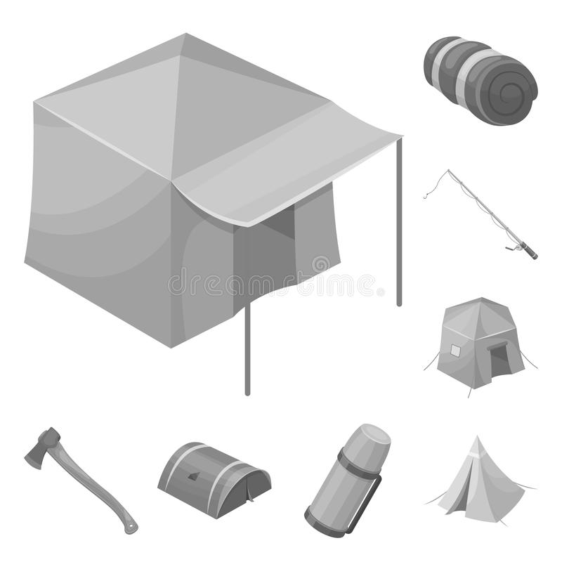 Different kinds of tents monochrome icons in set collection for design. Temporary shelter and housing vector symbol. Stock illustration royalty free illustration