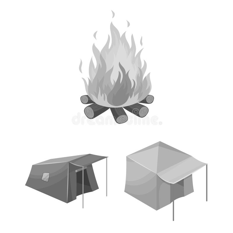 Different kinds of tents monochrome icons in set collection for design. Temporary shelter and housing vector symbol. Stock illustration stock illustration