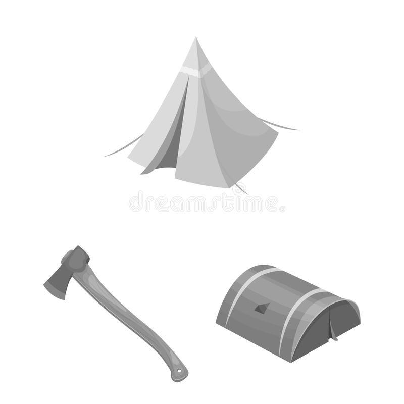 Different kinds of tents monochrome icons in set collection for design. Temporary shelter and housing vector symbol. Stock illustration vector illustration