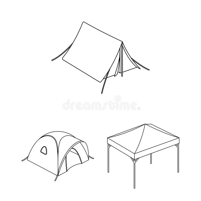 Different kinds of tents outline icons in set collection for design. Temporary shelter and housing vector symbol stock. Illustration vector illustration