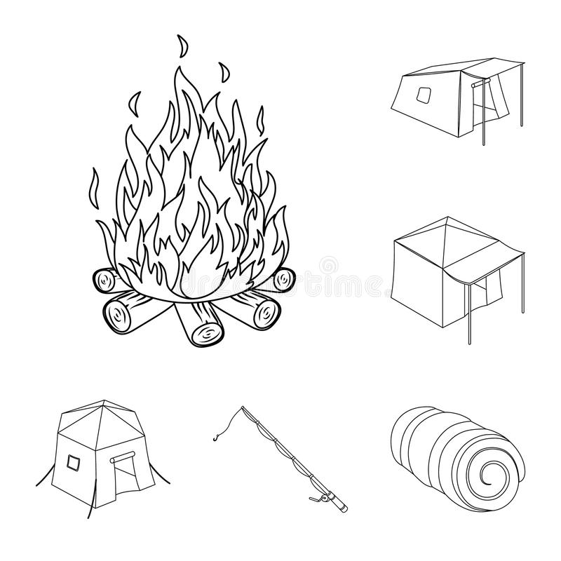 Different kinds of tents outline icons in set collection for design. Temporary shelter and housing vector symbol stock. Illustration stock illustration