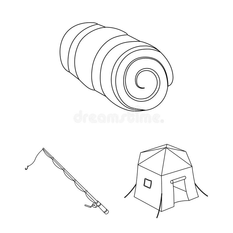 Different kinds of tents outline icons in set collection for design. Temporary shelter and housing vector symbol stock. Illustration royalty free illustration