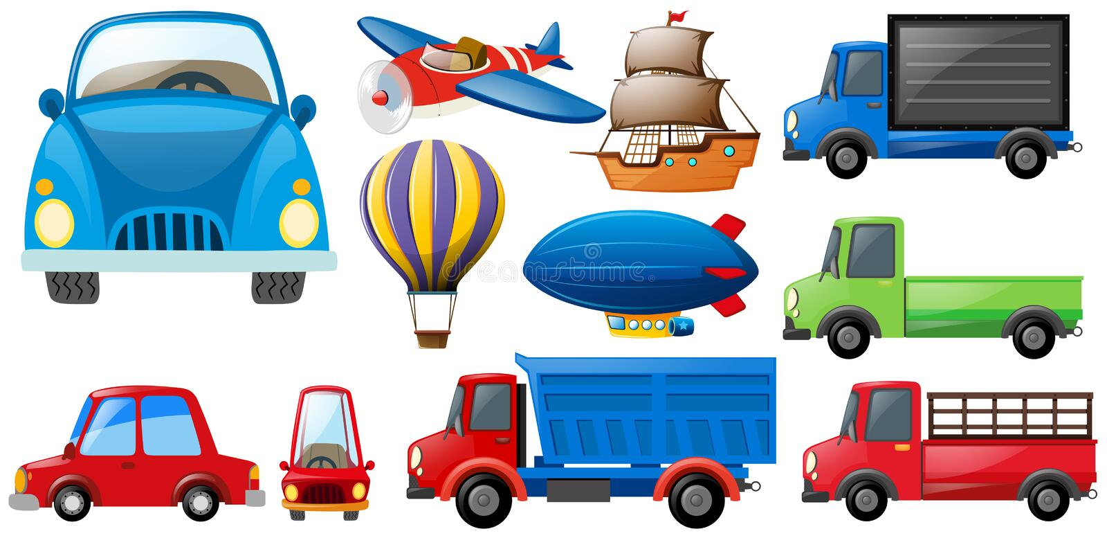 Different kinds of transportations royalty free illustration