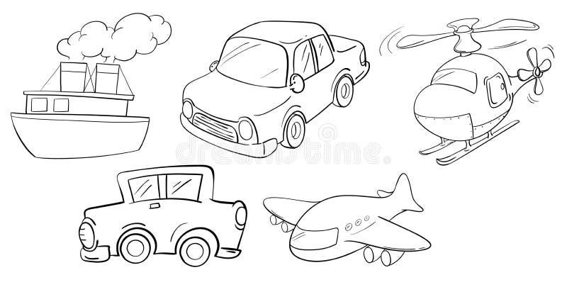 Different kinds of transportations stock illustration