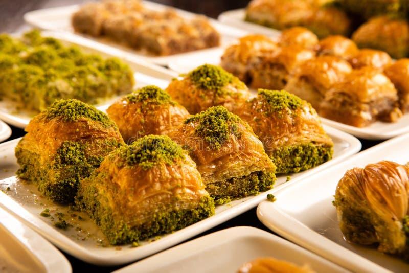 Different kinds of Turkish dessert baklava royalty free stock image