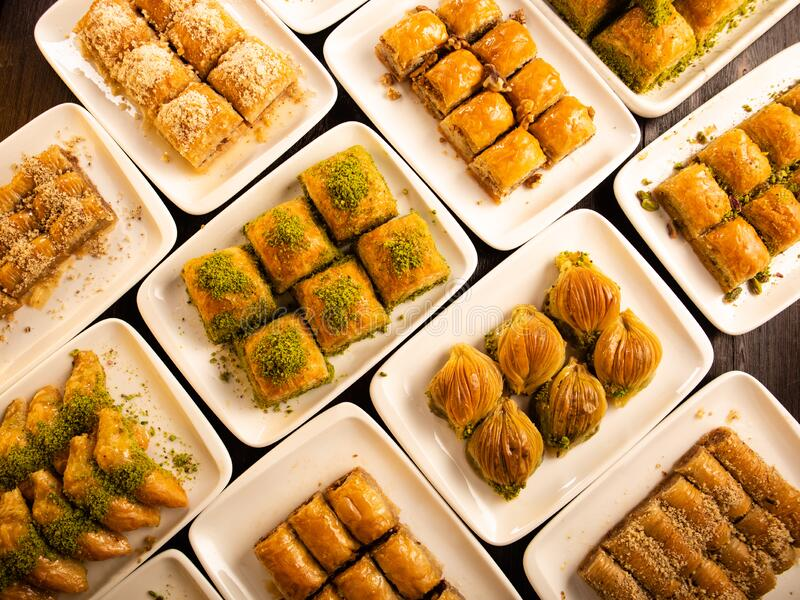 Different kinds of Turkish dessert baklava royalty free stock photography