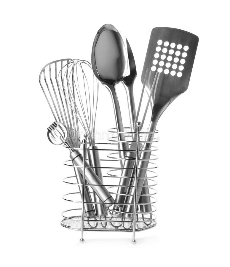 Different Kitchen Utensils In Stand Stock Image Image Of Isolated Detail 140210397