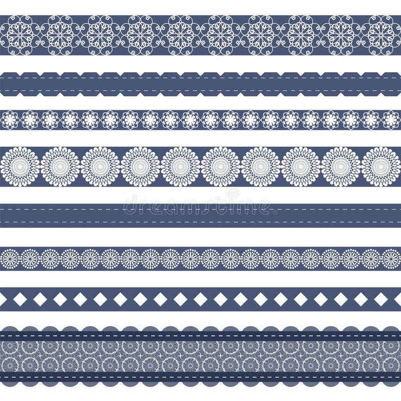different lace strips on white background royalty free illustration