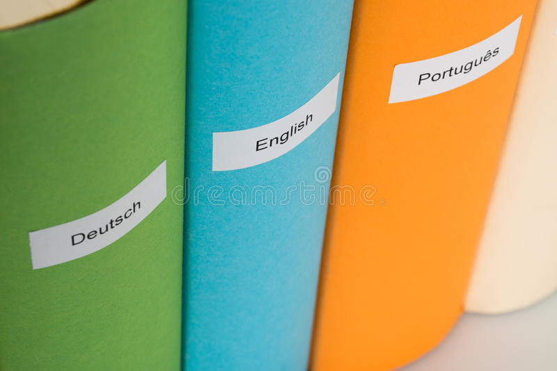 Different language books stock images