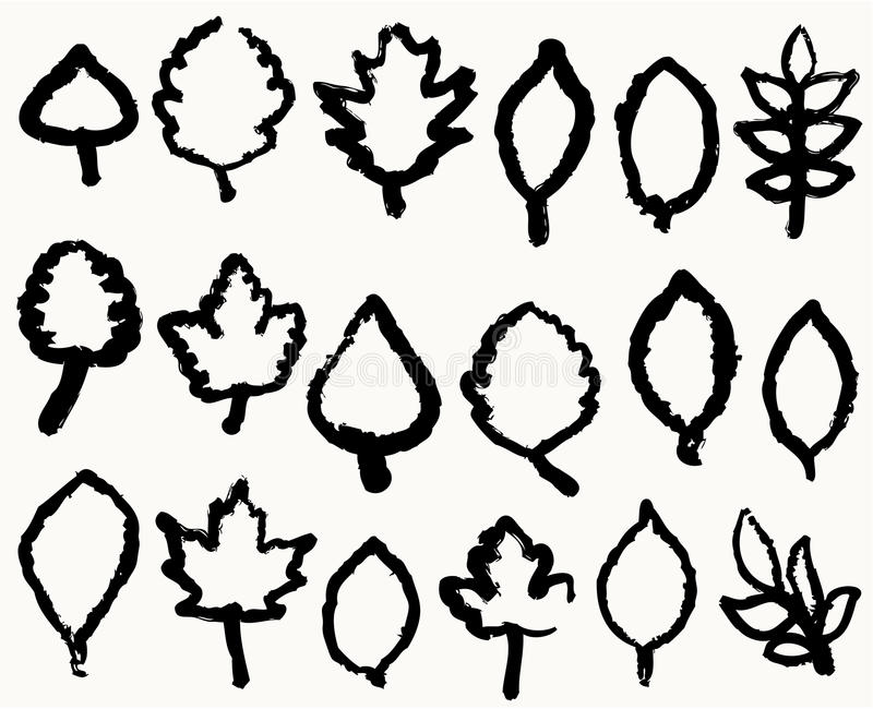 Different Leafs Handwriting Royalty Free Stock Images