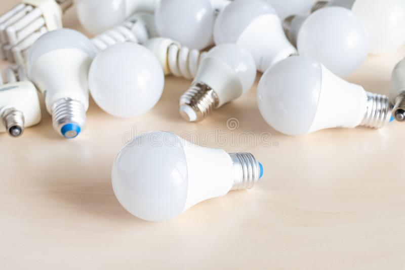 Different LED bulb lights and energy-saving lamps stock photography