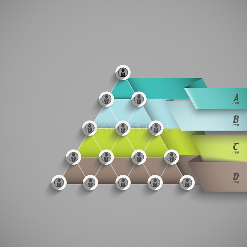 Different levels of structure or process, business presentations vector illustration