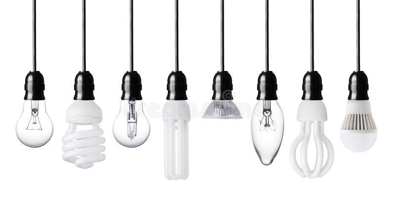Different light bulbs stock photos