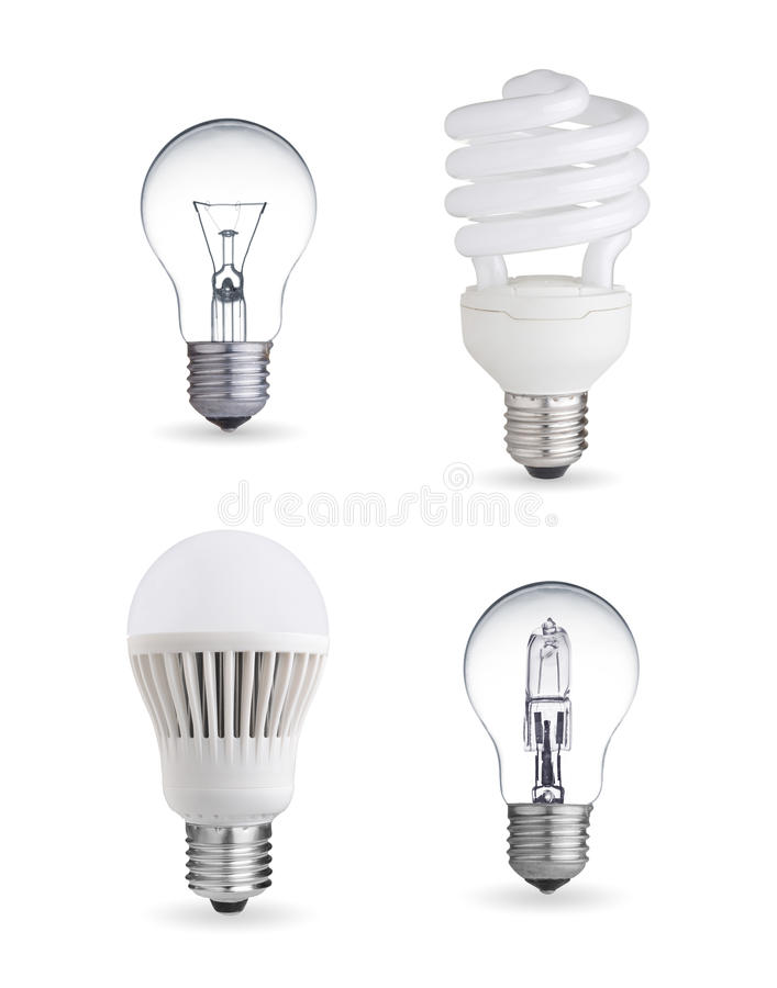 Different light bulbs stock illustration