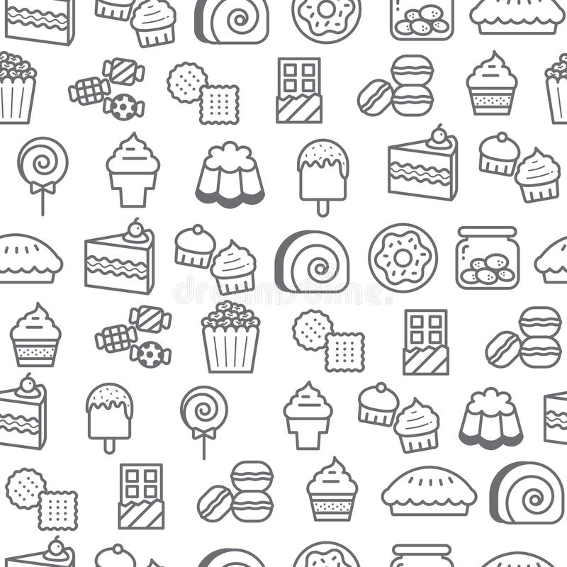 Different line style icons seamless pattern, Dessert stock illustration