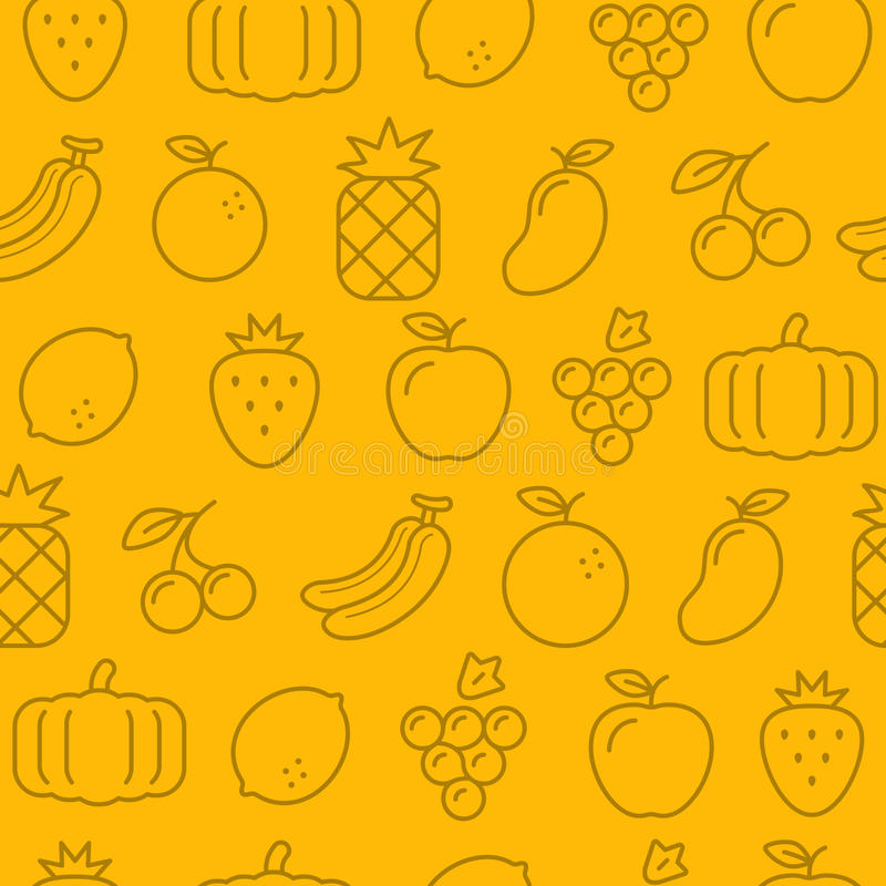 Different line style icons seamless pattern, Fruits stock illustration