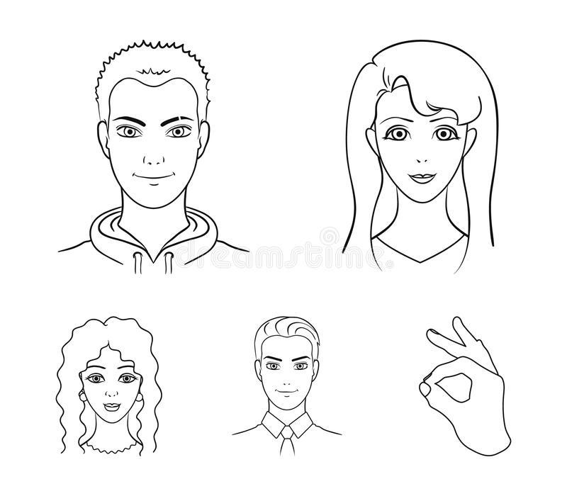 Different looks of young people.Avatar and face set collection icons in outline style vector symbol stock illustration.  stock illustration