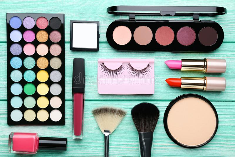 Different makeup cosmetics stock images