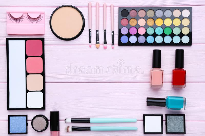 Different makeup cosmetics royalty free stock photography