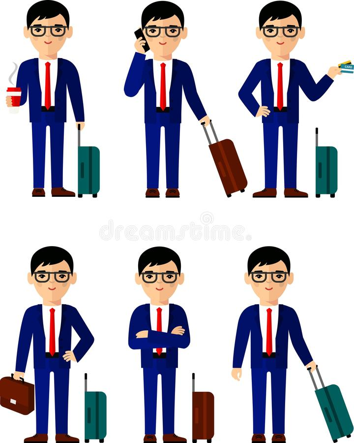 Set of businessman traveler with baggage in different poses vector illustration