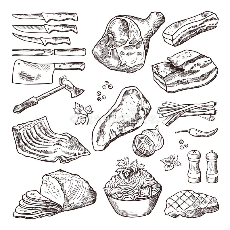 Different meat food. Pork, bacon and kitchen accessories. Knife and axe vector hand drawn picture stock illustration