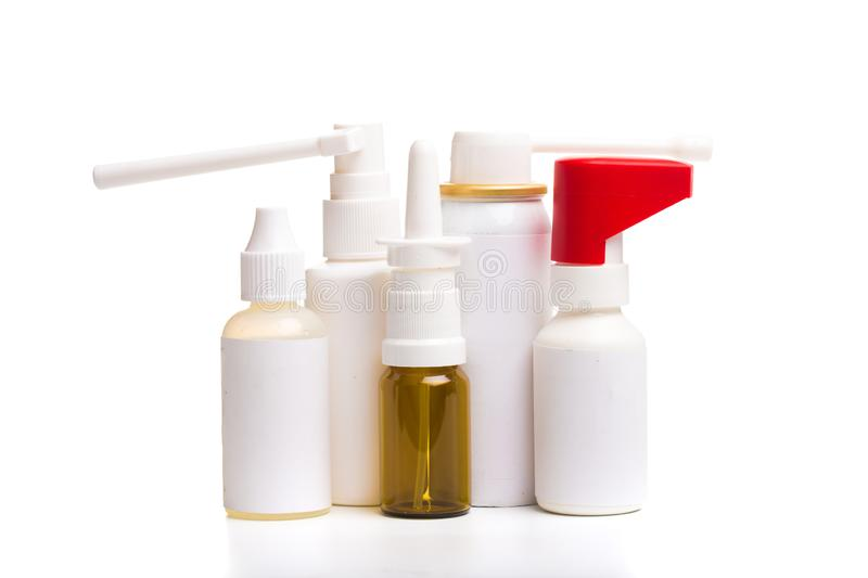 Different medical bottles isolated on white background stock photography