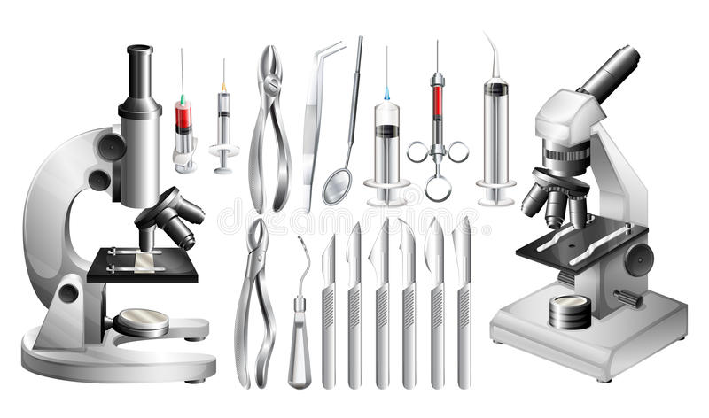 Different medical equipments and tools stock illustration