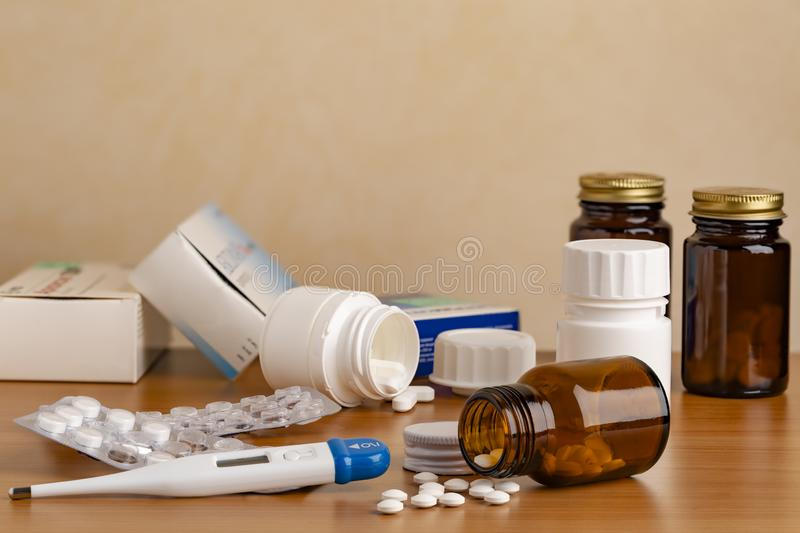 Different medicine capsules and pils royalty free stock image