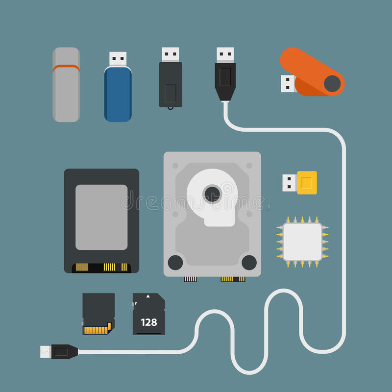 Different memory storage devices royalty free illustration