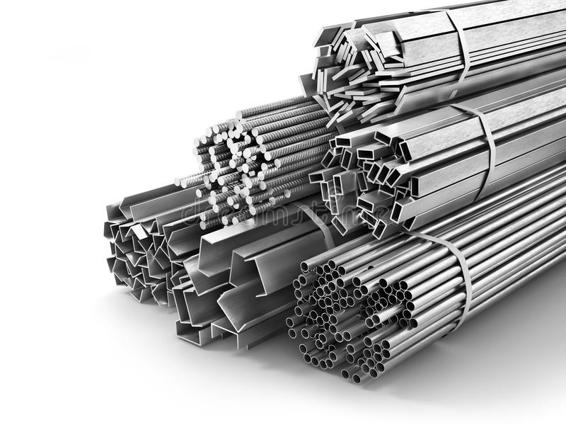Different metal products. Metal profiles and tubes. 3d illustration royalty free illustration