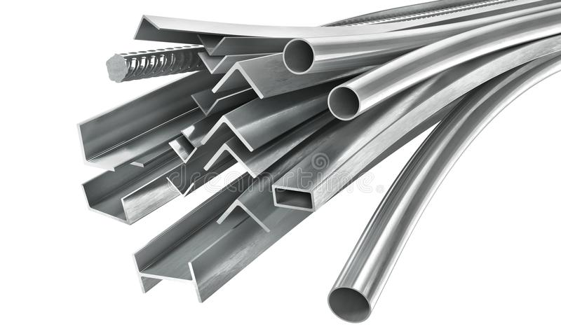 Different metal products. Metal profiles and tubes. 3d illustration vector illustration