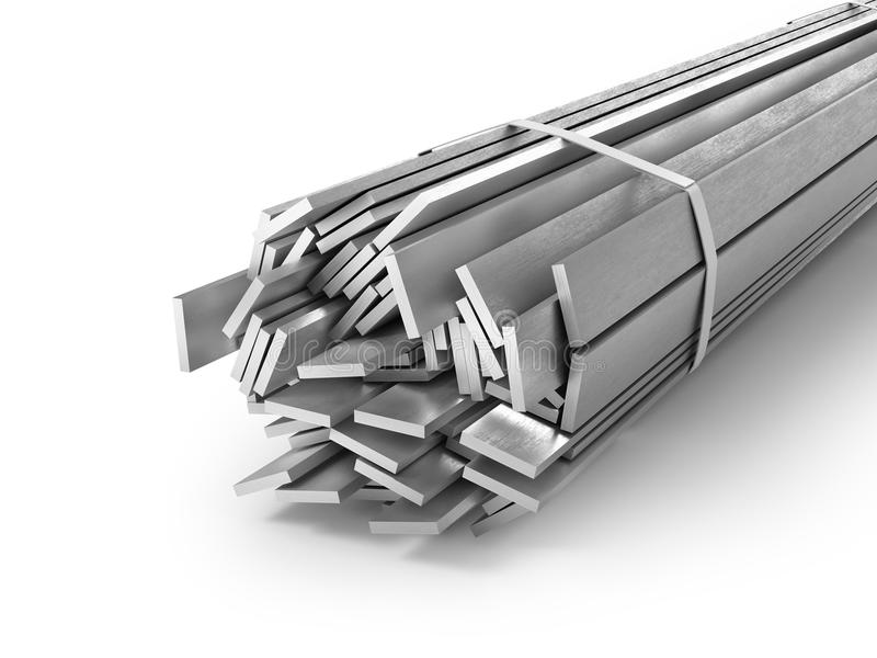 Different metal products. Profiles and tubes. 3d illustration stock illustration