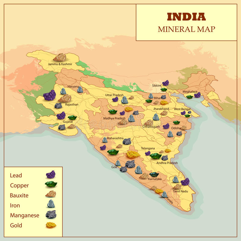 Different Mineral Map Of India. Easy to edit vector illustration of different Mineral Map Of India vector illustration