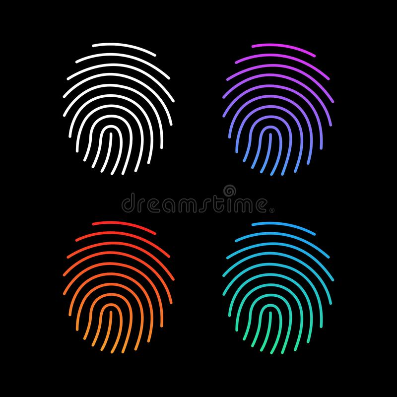 Different modern gradient Fingerprint Icons Set, Future Identification Authorization System. Vector illustration isolated on black. Different modern gradient vector illustration
