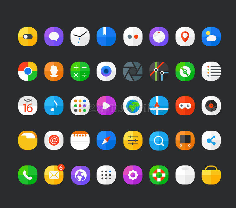 Different modern smartphone application icons set stock illustration