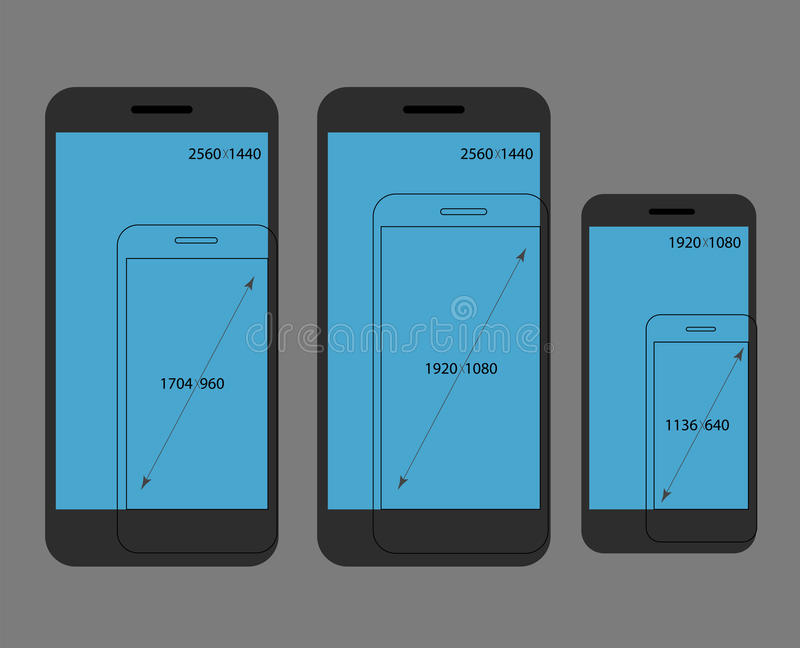 Different modern smartphone resolutions comparison royalty free illustration